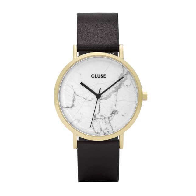 Cluse La Roche Gold White Marble/Black