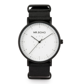 Hodinky Mr. Boho Metalic Casual Black White