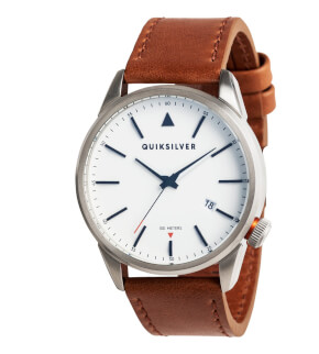 Hodinky Quiksilver Timebox Leather Silver White Brown XSWC