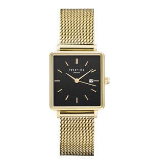 Hodinky Rosefield The Boxy Black Mesh Gold