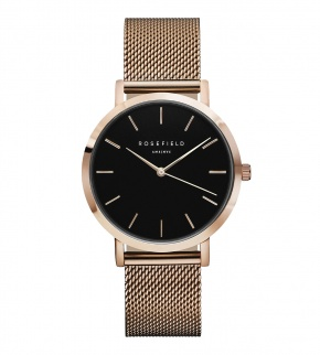 Hodinky Rosefield The Mercer Rose Gold Black