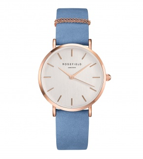 Hodinky Rosefield The West Village Rose Gold White / Airy Blue