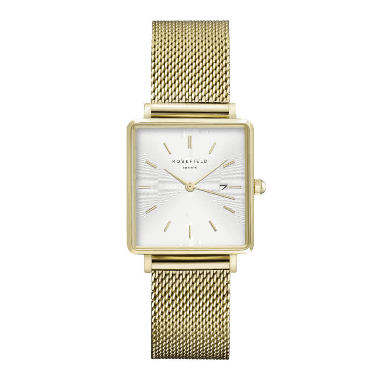 The Boxy White Sunray Mesh Gold