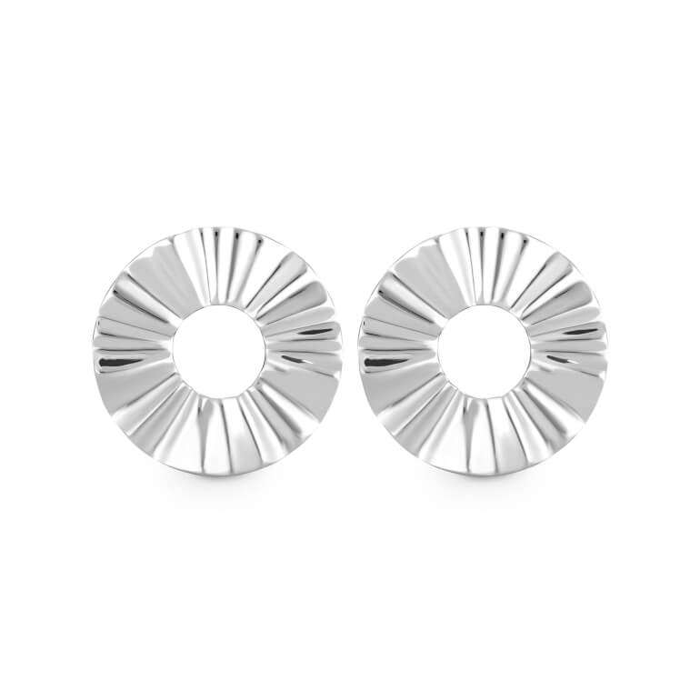 náušnice Lois Liquid Waved Coin Earring Silver